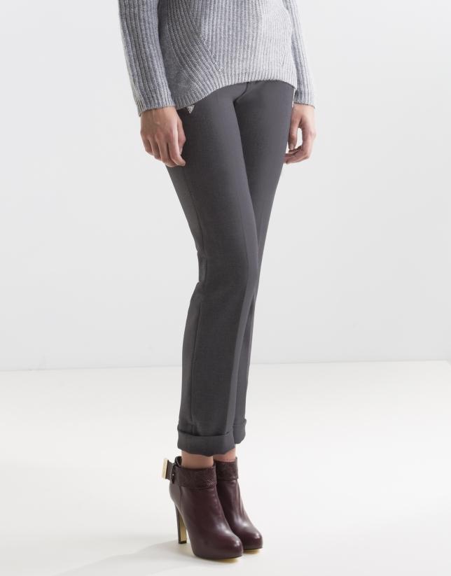 Pantalon gris poches à liseré