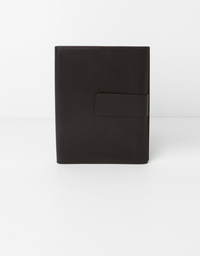 Porte bloc-notes en cuir brun
