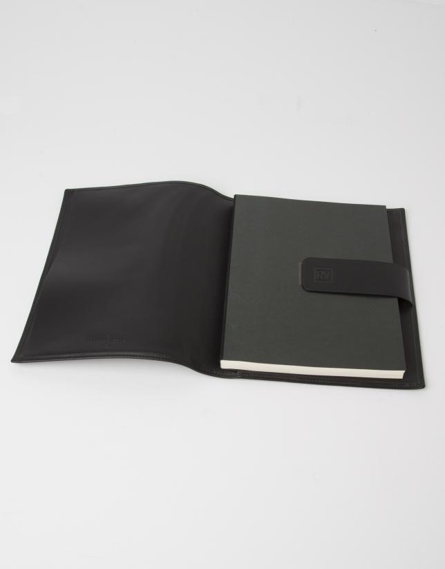 Porta libreta piel negra con libreta RV