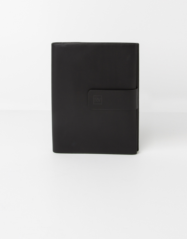Black leather notebook cover