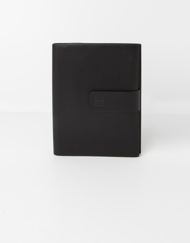 Porte bloc-notes en cuir noire