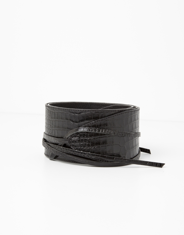 Cinturon piel cocodrilo negro
