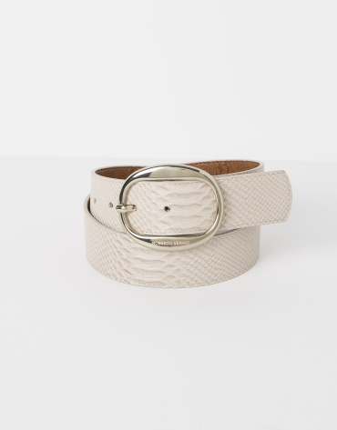 Beige embossed belt