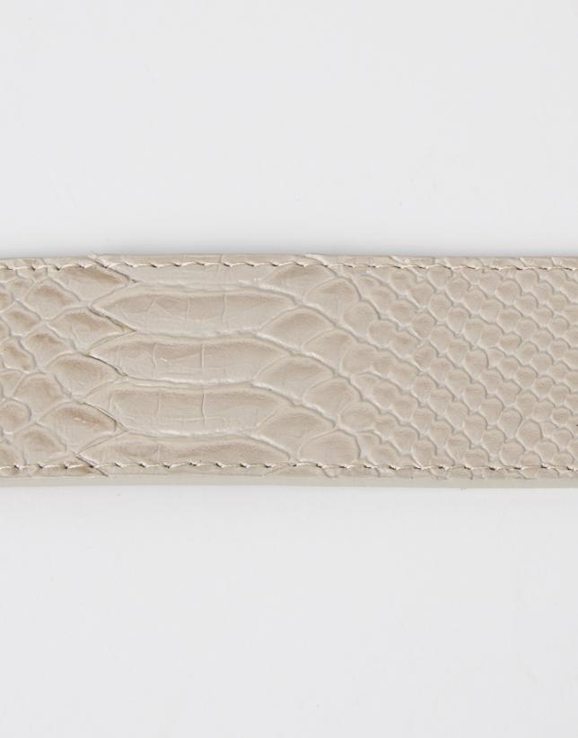 Cinturón grabado beige