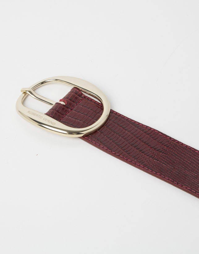 Red embossed belt