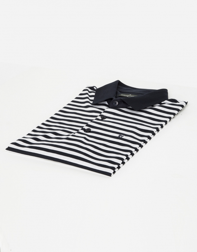 Navy blue/white striped polo