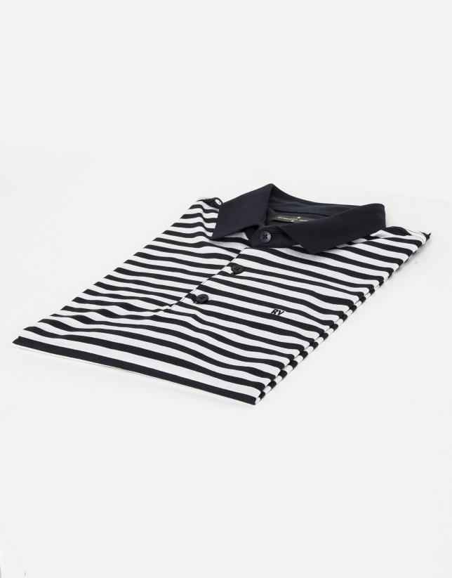 Navy blue/white striped polo