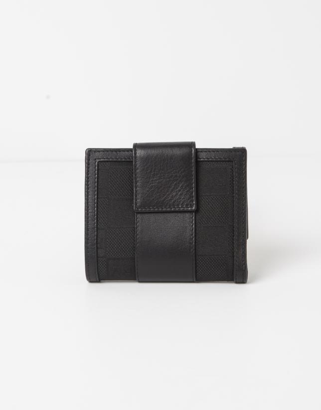 Petit portefeuille jacquard RV noire