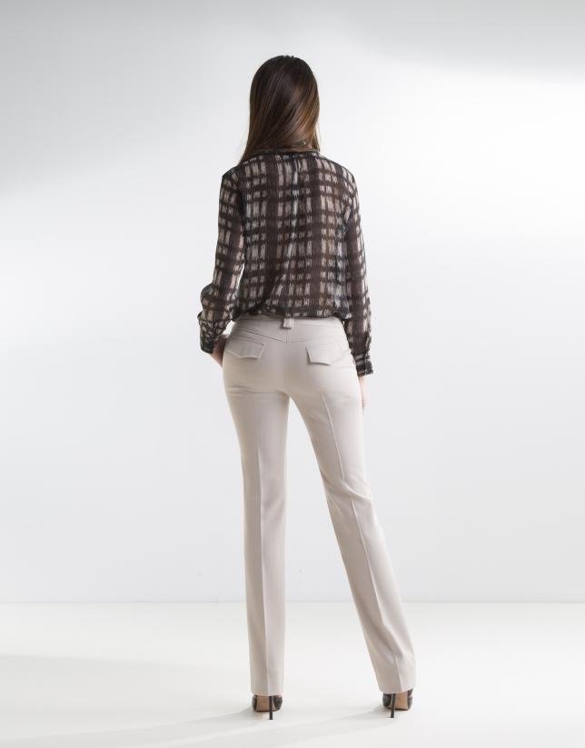 Pantalon à pinces couleur camel