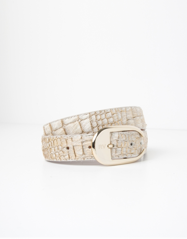 Beige embossed leather belt