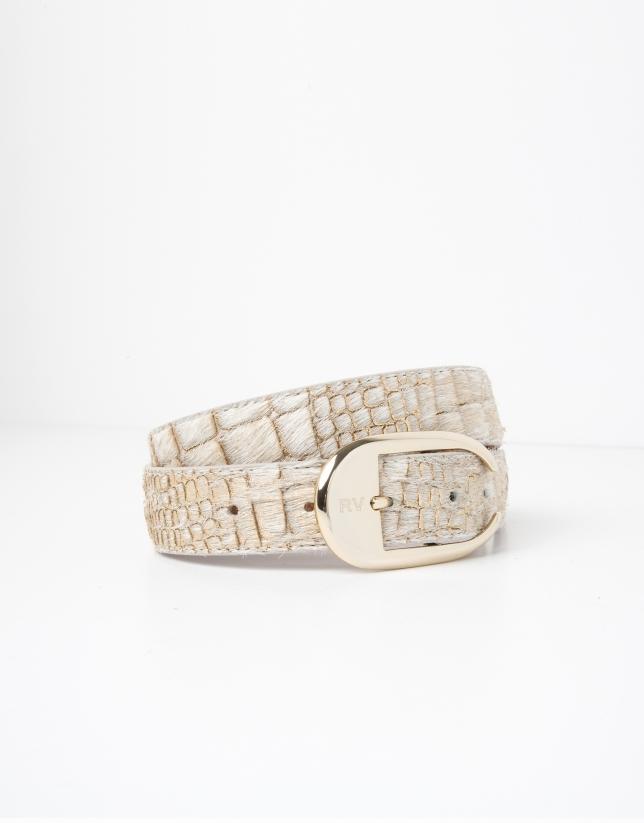 Cinturón piel grabado beige