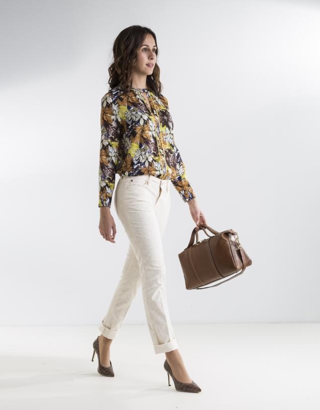 Pantalon beige en velours imprimé