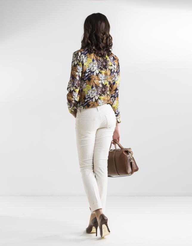 Pantalón pana grabada beige