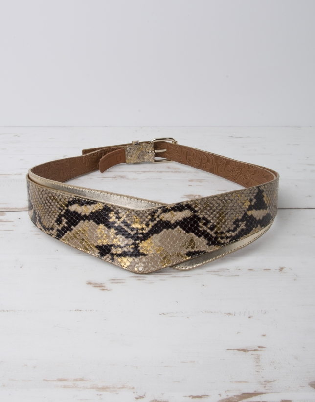 Gold snakeskin belt