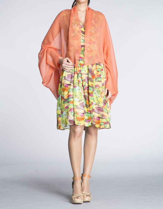 Peach silk bolero sweater
