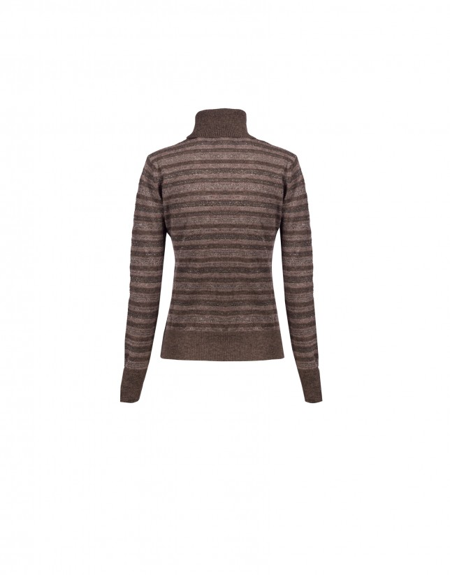 Brown stripe roll collar pullover