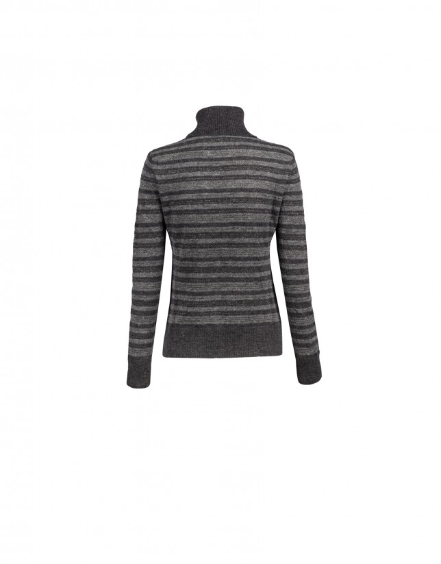 Grey stripe roll collar pullover