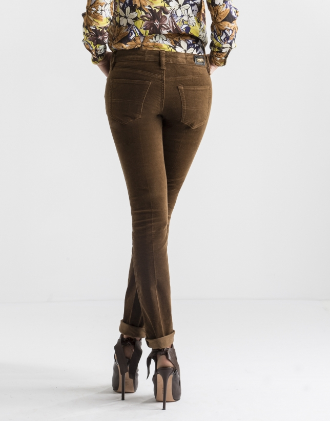 Plain brown corduroy pants