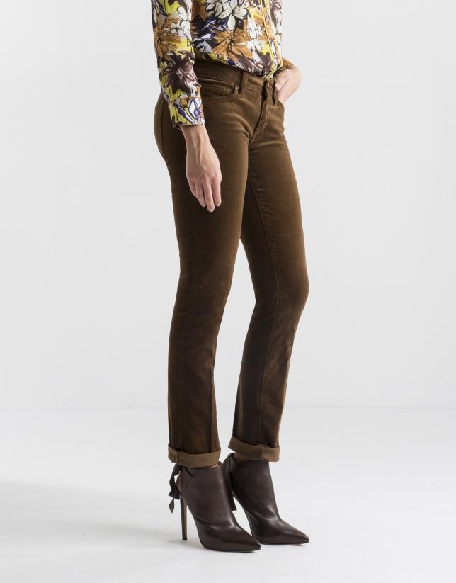 Plain brown corduroy pants
