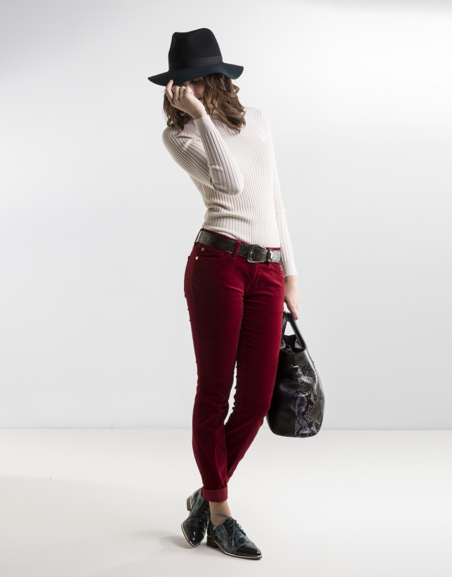 Pantalon en velours uni rouge