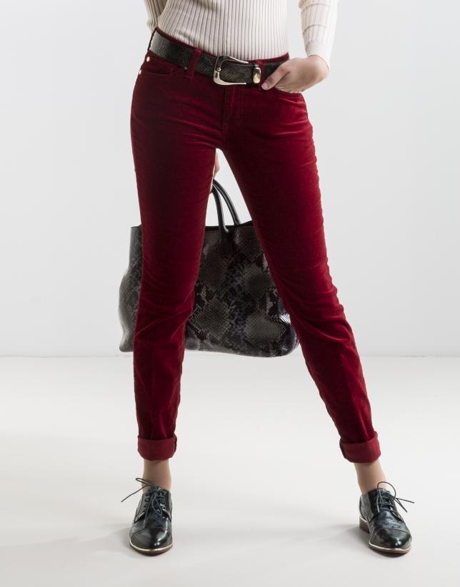 Pantalon en velours uni rouge
