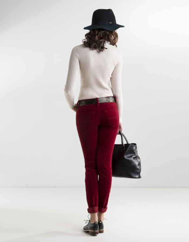 Plain red corduroy pants