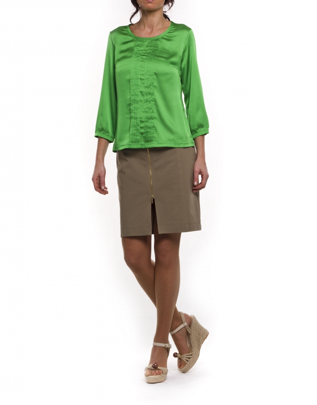 Blusa manga larga escote redondo