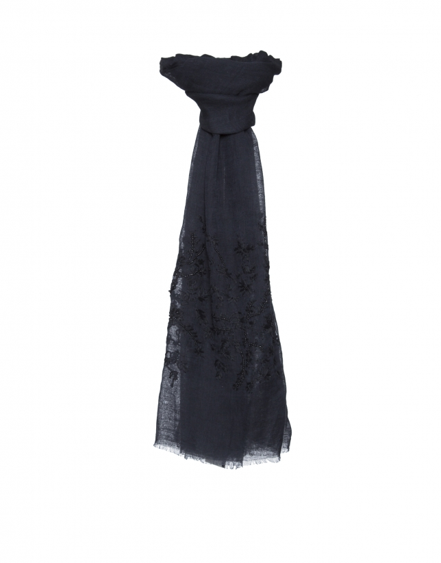 Navy blue embroidered scarf