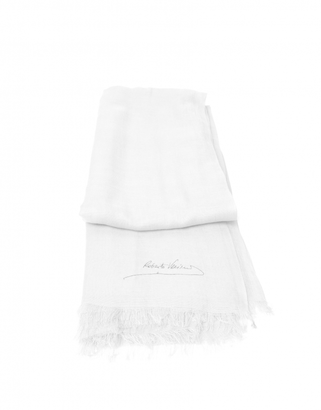 Plain white scarf