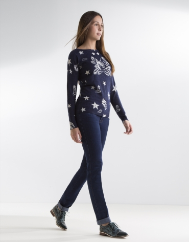 Denim pants with embroidered pocket