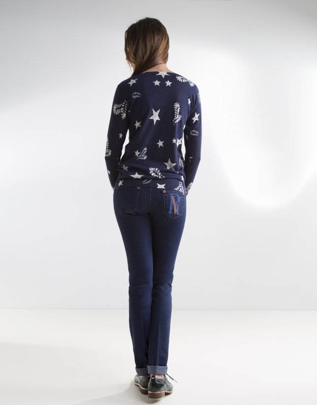 Pantalon en denim, poche brodée
