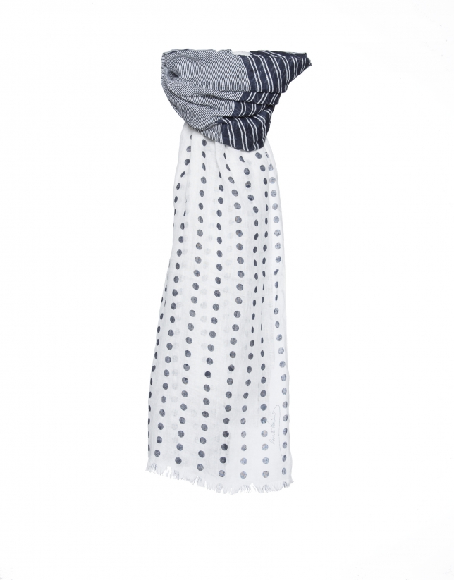 Navy blue dotted scarf