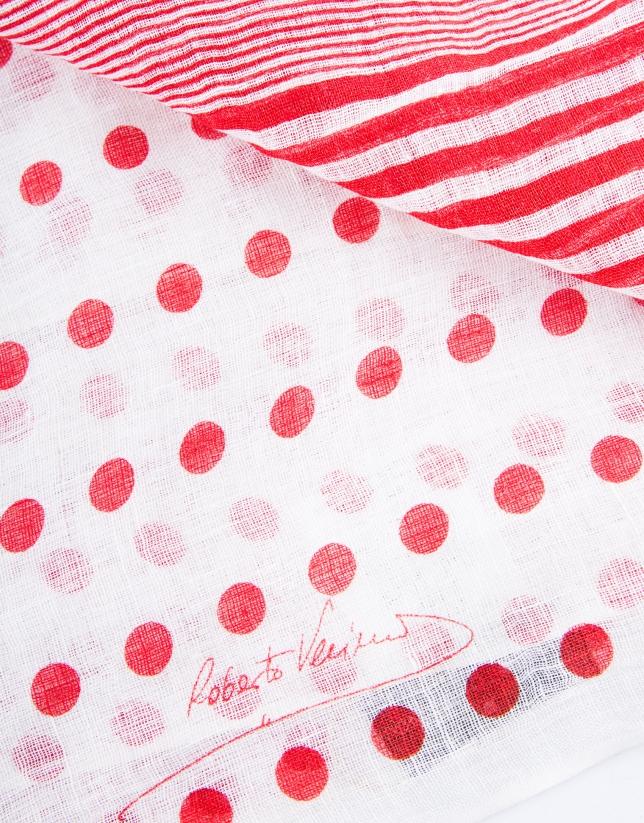 Foulard en topos rojos