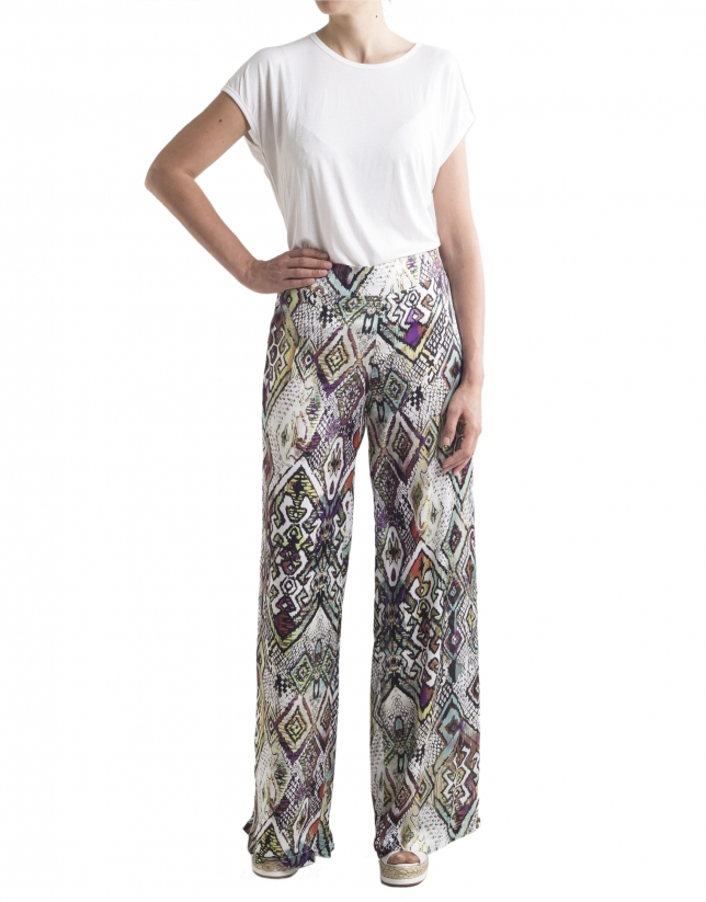 Pantalon ample motif géométrique
