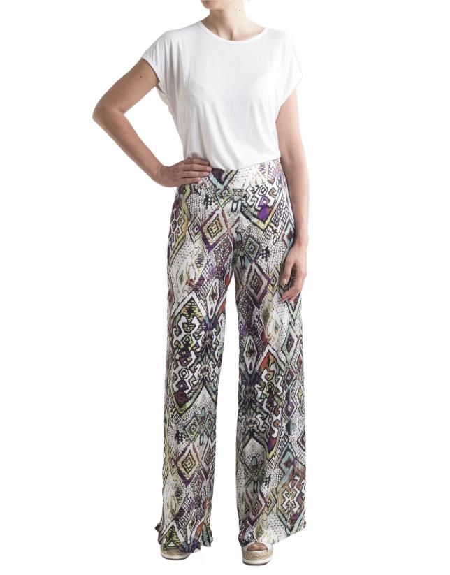 Pantalon ample motif g om trique femme roberto verino - Pantalon ample femme ...