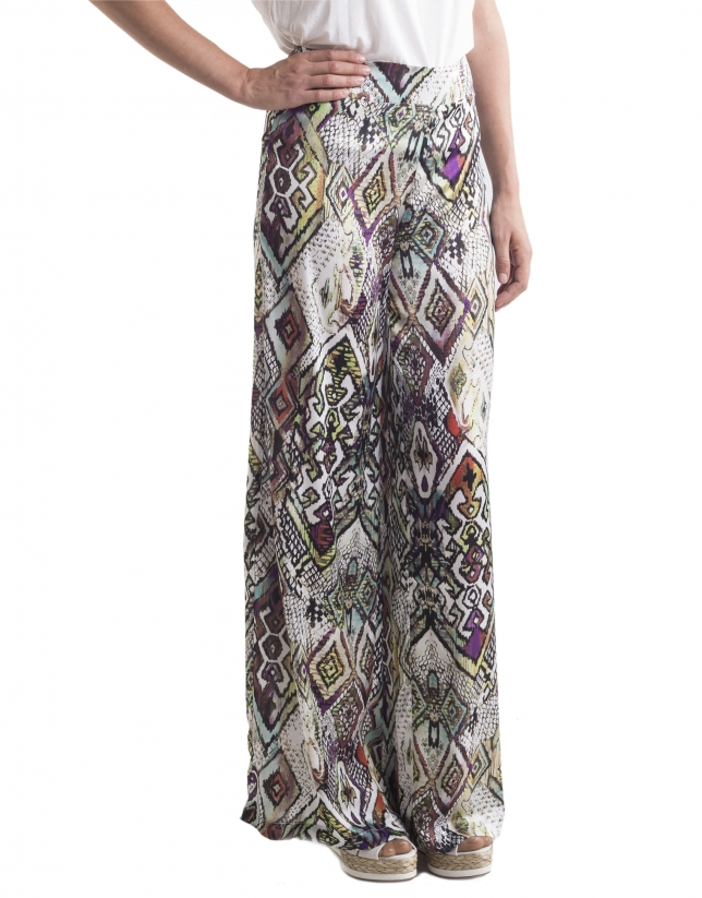 Geometric print wide pants