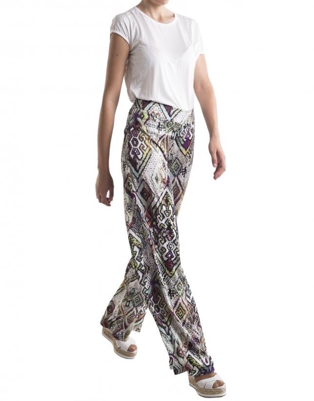 Pantalón ancho estampado geométrico