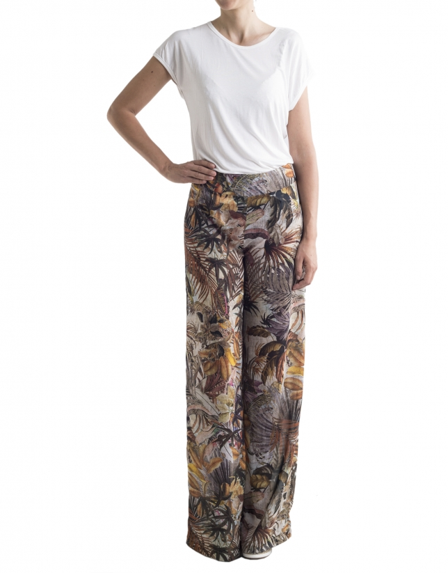 Pantalón ancho estampado tropical