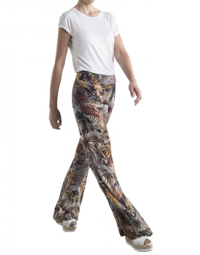 Pantalon ample motif tropical