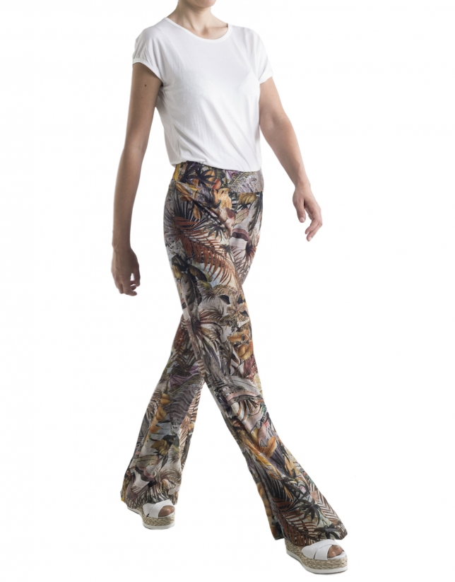 Tropical print wide pants