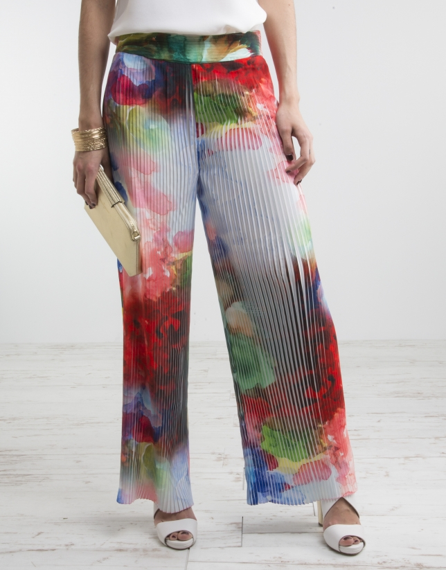 Floral print pleated pants