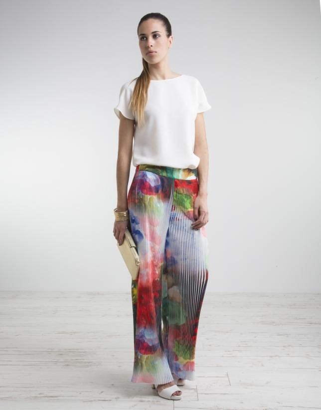 Pantalón plisado estampado floral