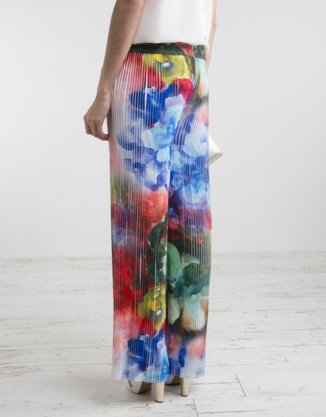 Pantalon plissé à motif floral
