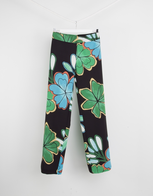 Green print wide pants