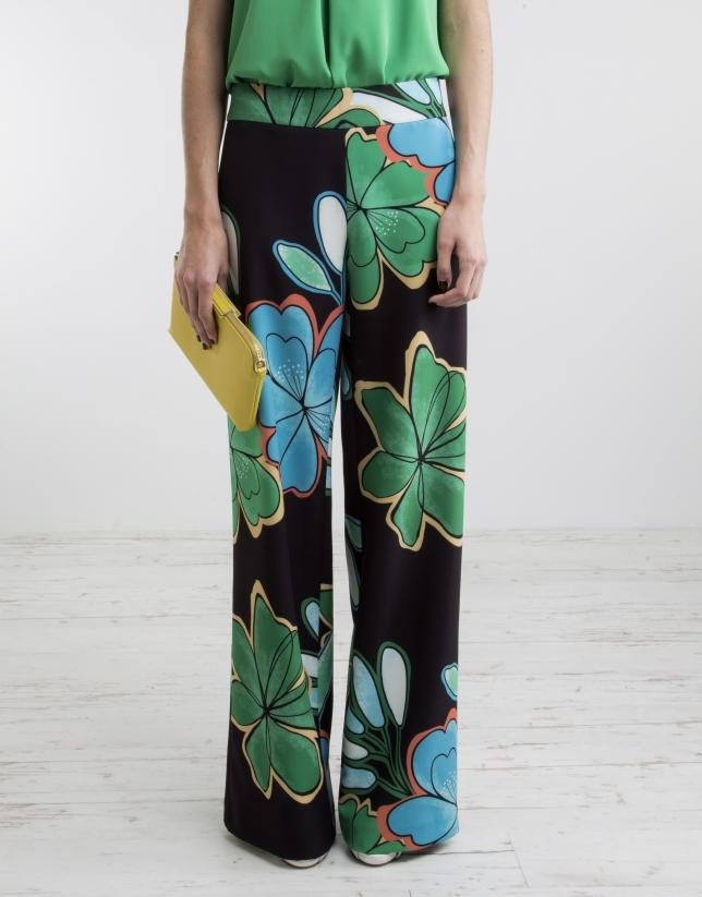 Pantalón ancho estampado verdes
