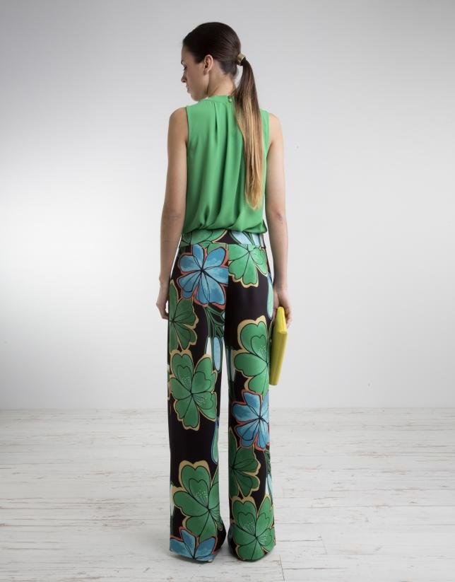 Pantalon ample à imprimé vert