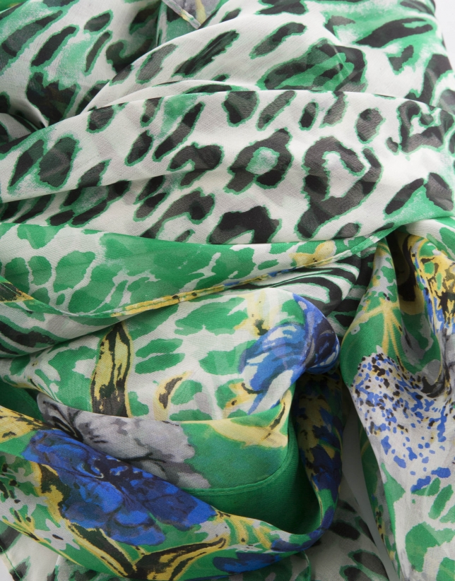 Foulard estampado fantasía verde