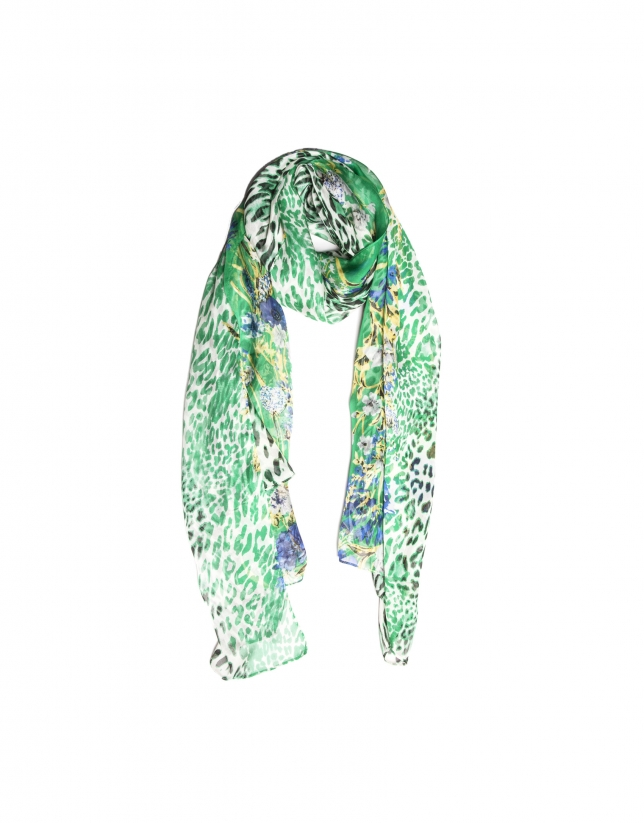 Etole à motifs fantaisie verte