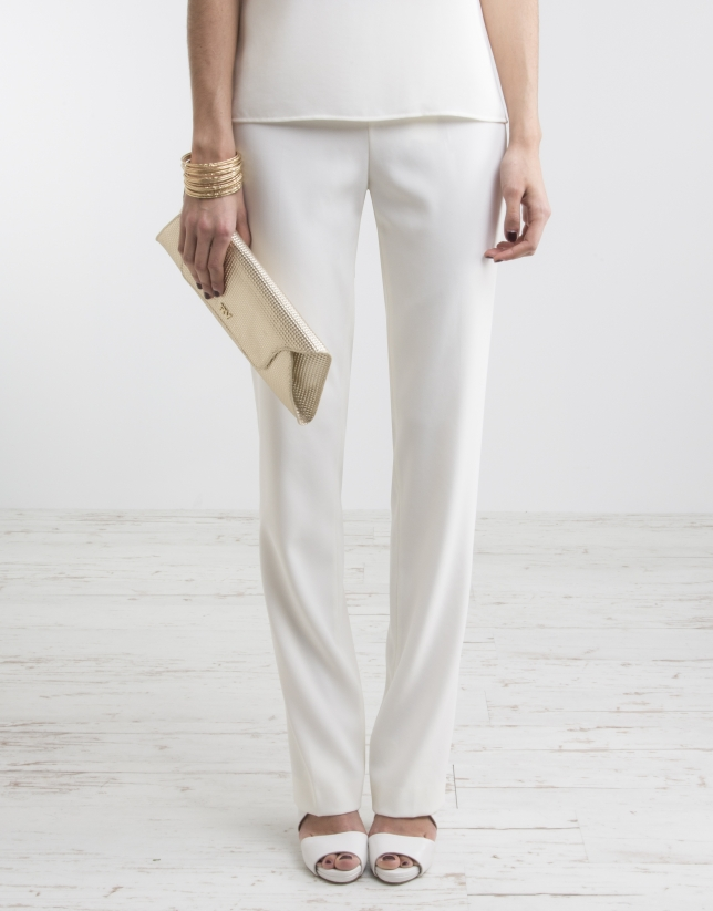 Off-white pants with wide waist