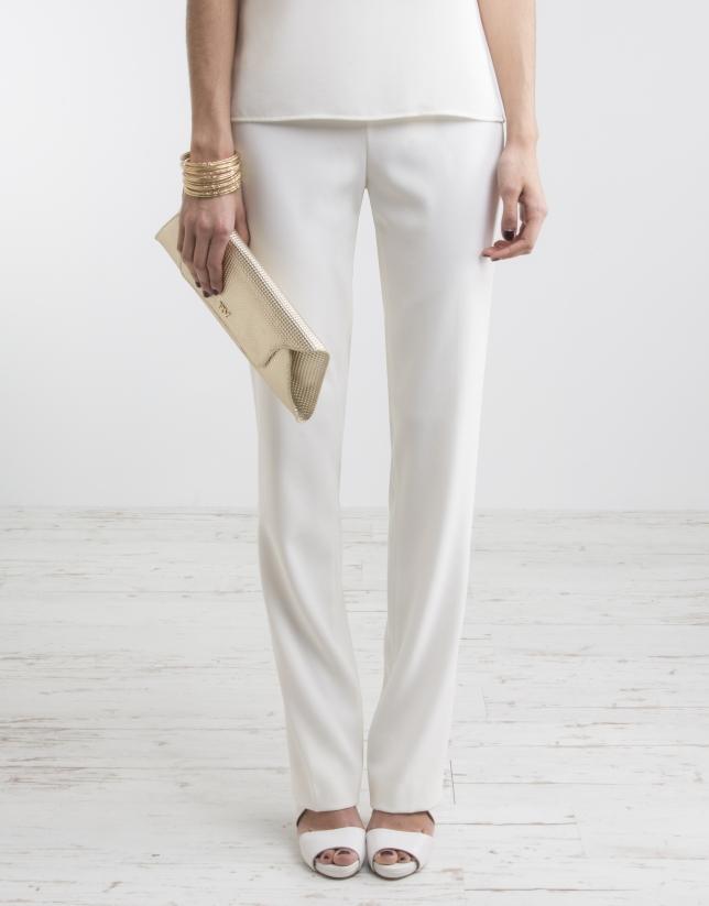 Pantalon blanc cassé taille ample